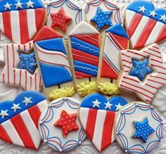 Flour Box Bakery — Fourth of July Cookies Blue Cookies, Iced Sugar Cookies, Summer Cookies, Cut Out Cookies, Royal Icing Cookies, Cupcake Cookies, Macaron Cookies, Cupcakes, 4th Of July Cake