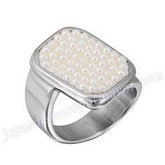 Material: Acero Inoxidable   Nombre:Ajuste del ciente de anillo plateado de acero con perla blanco   Model No.:SSRG203