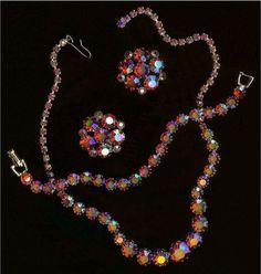 vintage red aurora borealis parure   Weiss Red Aurora Borealis Rhinestone Parure Necklace Bracelet Earrings