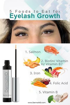 Salmon, banana, carrot, broccoli, and the remaining ones are very helpful if you want to have thick eyelashes. Along with these if having these food daily can be a problem for you then 3 times a week use Dermalmd eyelash serum, it enters the deepest layers of the skin and boosts hair hormones. And it's organic.