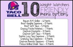 Here are 10 menu options at Taco Bell that will fit into your Weight Watchers Meal Plan – All 8 Points or Less! Please PIN THIS POST to your Weight Watchers board! Be sure to check out 50 Weight Watchers Friendly Fast Food Options – including KFC, Wendy's Weight Watchers Tipps, Weight Watchers Meal Plans, Weight Watchers Points Plus, Weight Watcher Dinners, Weight Watchers Diet, Weight Watchers Restaurant Points, Weight Watchers Recipes, Weight Watchers Lunches, Weight Watchers Program