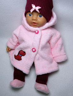 Puppenbekleidung mit Jacke für Baby Born 32-  5-Teilig - Kätzchen-