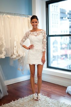 Love the sleeves and neck on this Short Lace Wedding Dress
