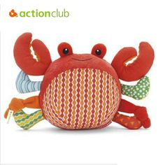 Actionclub 2016 new arrival hotselling Lovely crab baby rattles plush toy cute baby's appease ball rabbit toys free shipping