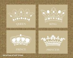 "Home Decor Prints of a King, Queen, Prince, and Princess Crowns, 8x10"" set of four prints, For Living room, office decor, or bedroom decor. $55.00, via Etsy."