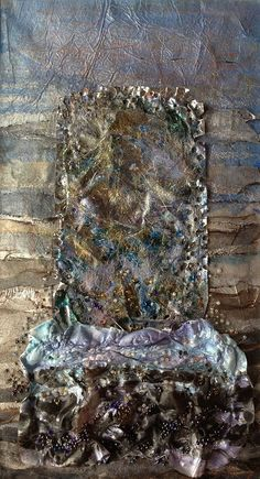 'Mist at Urgha' by Catherine Stark Textile Fiber Art, Textile Artists, Natural Form Artists, Textiles Sketchbook, Growth And Decay, A Level Art, Gold Work, Weaving Art, Color Blending