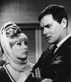 """FILE - This 1967 file photo shows Barbara Eden, left, and Larry Hagman in a scene from the television show """"I Dream of Jeannie.""""  Actor Larry Hagman, who for more than a decade played villainous patriarch JR Ewing in the TV soap Dallas, has died at the age of 81, his family said Saturday Nov. 24, 2012. Photo: NBC / AP"""