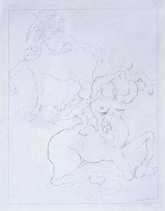 Dalí, Salvador: Estudio para familia de centauros marsupiales