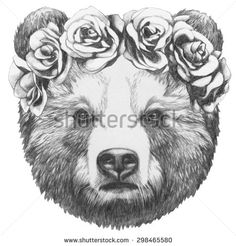 Illustration about Original drawing of Bear with floral head wreath. Isolated on white background. Illustration of funny, drawing, black - 77666696 Crown Drawing, Bear Drawing, Head Tattoos, Time Tattoos, Cubs Tattoo, Wild Tattoo, Bear Pictures, Tattoo Sketches, Art Prints