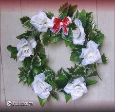 Couronne mariage en guirlande lierre et roses blanches décoration taille 40cm : Accessoires à accrocher par orkan28