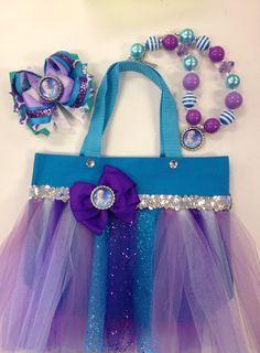 Frozen Queen Elsa Tutu Bag Deluxe Bow Necklace Set