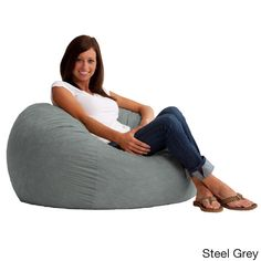 FufSack 3-foot Large Memory Foam/ Microfiber Bean Bag Chair   Overstock.com Shopping - The Best Deals on Bean & Lounge Bags