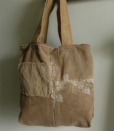 lambert - sake bag: hand-sewn antique japanese sakabukuro + organic linen + vintage webbing + shell button