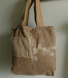 lambert - sake bag: hand-sewn antique japanese sakabukuro + organic linen…
