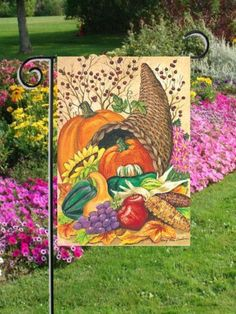 """Cornucpia Pumpkin Fall Thanksgiving Mini Flag by Custom Décor, Inc.. $3.59. Garden Flag Outdoor Décor. Flag Measures Approximately 12"""" x 18"""". 100% Polyester - Fade & Mold Resistant. Permanently Dyed with a Vivid Color Process. Bright Beautiful Artwork. ################################################################################################################################################################################################################################..."""