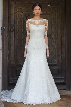 Illusion Fit and Flare Wedding Dress  with Natural Waist in Lace. Bridal Gown Style Number:33137894