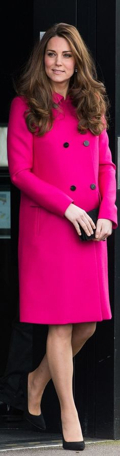 Kate Middleton was glowing in her hot pink Mulberry coat during her final appearance before giving birth to her second child.