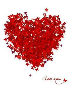 Hart van rode vlinders