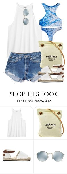 """""""Sin título #3994"""" by hellomissapple ❤ liked on Polyvore featuring Mikoh, Monki, Levi's, Hermès and Ray-Ban"""