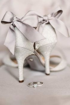Silver wedding shoes with bows - sparkly wedding shoes for brie {Dasha Dean Photography}