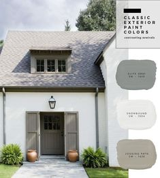 Ideas House Colors Outside Paint Home Exteriors White Exterior Paint, Exterior Paint Colors For House, Paint Colors For Home, Outside House Paint Colors, Exterior Shutters, Stucco Exterior, Exterior Paint Ideas, Outdoor House Colors, Stucco House Colors