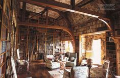 I love the light, the books, the beams, the wall-paper... all of it.