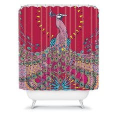 DENY Geronimo Studio Red Peacock Shower Curtain