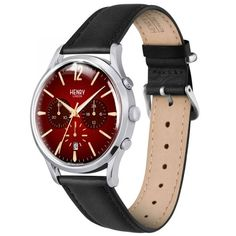 Henry London Edgware Gents Black Leather Strap Watch with Stainless Steel Silver Casing - Black London Watch, Herren Chronograph, Stitching Leather, Unisex, Watch Case, Quartz Watch, Ebay, Watches For Men, Jewelry Watches