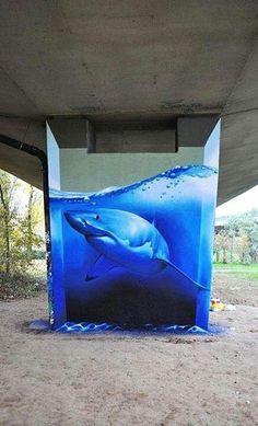 Shark 3D street art