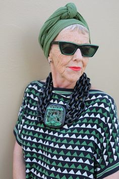 The chunky necklace makes this Green and Black outfit totally awesome!