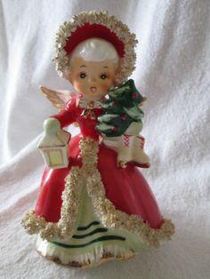VTG Napco Christmas Figurine Angel Girl Shopper Skates Tree Lantern Spaghetti trim