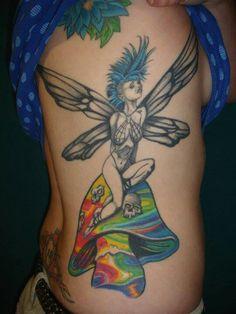 Punk mushroom fairy tattoo, love the psychedelic shroom!