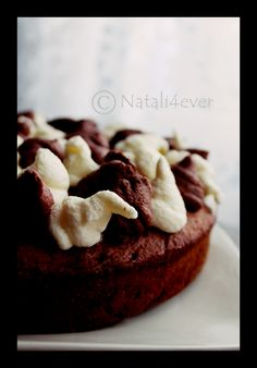 Banana cake with double colour whipped cream