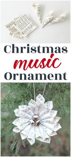 This simple Christmas music ornament will look beautiful on any Christmas tree. With free printable sheet music and simple, clear instructions, this ornament is quick and easy to make. Music Christmas Ornaments, Paper Christmas Decorations, Christmas Sheet Music, Christmas Angels, Christmas Tree Ornaments, Christmas Diy, Simple Christmas, Sheet Music Crafts, Sheet Music Ornaments Diy