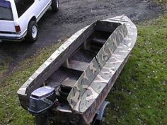 Free Plans For Boat Building Duck Hunting Blinds, Duck Hunting Gear, Waterfowl Hunting, Flat Bottom Jon Boat, Duck Boat Blind, Hunter Boats, Boat Blinds, Wooden Boat Plans, Diy Boat