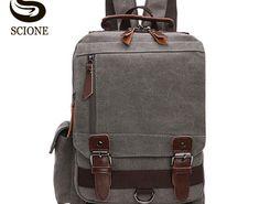 Big SALE Scione Small Canvas Backpack Men Travel Back Pack Multifunctional  Shoulder Bag Women Laptop Rucksack 0d1f5b97728ac