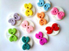 Button Rainbow of Butterflies handmade polymer clay buttons  ( 10 )