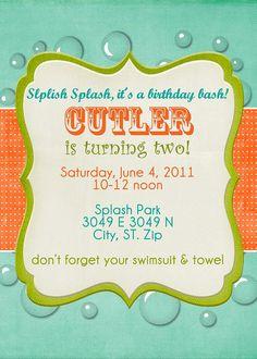 Splish Splash Boy Custom Birthday Pool Party by sillymedesign, $15.00