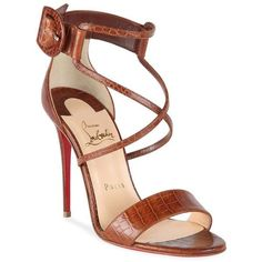 Christian Louboutin Choca 100 Croc-Embossed Leather Sandals ❤ liked on Polyvore featuring shoes, sandals, christian louboutin, christian louboutin shoes and christian louboutin sandals