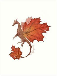 Maple Leaf Dragon Art Print by CS-Illustration