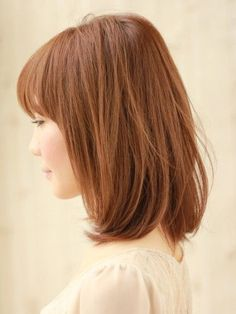 Mid-length bob with straight bangs. Soo wanna do this when my hair grows back out!