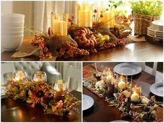 déco de table avec mini citrouilles  et bougies