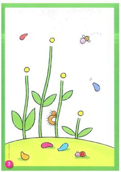 Or finish the picture with Stickers, cut paper, coloring Preschool Writing, Preschool Learning Activities, Spring Activities, Toddler Activities, Preschool Garden, Preschool Crafts, Art For Kids, Crafts For Kids, Plasticine