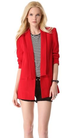 A beautiful red blazer. Pair with dark denim cropped jeans, black ankle strap heels, a neutral top and done!