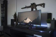 Got some plants for the Battlestation! Simple Computer Desk, Computer Desk Setup, Gaming Room Setup, Gaming Desk, Pc Setup, Home Office Setup, Home Office Design, Bedroom Setup, Video Game Rooms