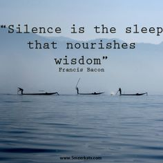 Silence is the sleep that nourishes wisdom Smart Quotes, Sleep, Wisdom, Movie Posters, Film Poster, Popcorn Posters, Film Posters, Intelligent Quotes, Posters