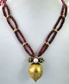vintage antique tribal 22 k gold Ruby beads by TRIBALEXPORT, $1599.00