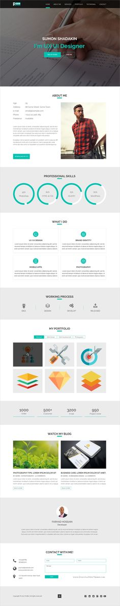Creative and pixel perfect design #onepage PSD template for #resume and #portfolio showcase website download now > https://themeforest.net/item/profile-one-page-psd-template/19908942?ref=Datasata