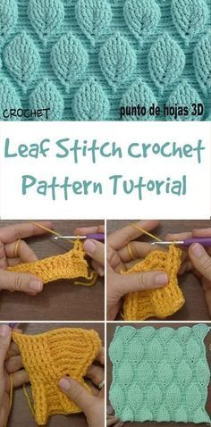 Elements of The Perfect - Easy Crochet Leaf Stitch Pattern -Crochet Gate: Leaf Stitch Crochet Pattern - Video Tutorial - no written pattern, for some reason :/Haven't found a written pattern for this yet. Leaf Stitch Crochet Pattern Tutorial and chart at Crochet Leaves, Crochet Motifs, Crochet Stitches Patterns, Stitch Patterns, Unique Crochet Stitches, Free Easy Crochet Patterns, Crotchet Stitches, Different Crochet Stitches, Crotchet Patterns