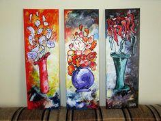 DECORETED WITH FLOWERS Wall decor, Acrylic Painting; Technique: Acrylic & structure on canvas; Size :60 X 60 cm (3 pieces 60 X 20 cm) Artwork available. dumitruciocan@yahoo.com www.facebook.com/ciocan.dumitru Flower Wall Decor, Acrylic Paintings, Canvas Size, 3 Piece, Facebook, Artwork, Flowers, Work Of Art, Royal Icing Flowers